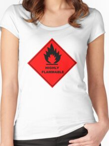 Flammable Warning Sign Women's Fitted Scoop T-Shirt
