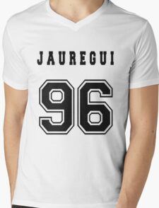JAUREGUI - 96 // Black Text Mens V-Neck T-Shirt