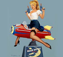 Moon Rocket Ride - Pin Up Girl by Fiona Stephenson