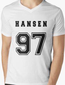 HANSEN - 97 // Black Text Mens V-Neck T-Shirt