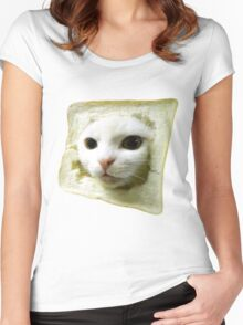 Cat with a slice of bread on the head. Women's Fitted Scoop T-Shirt