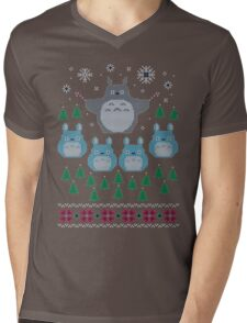 Totoro Ugly Christmas Sweater Mens V-Neck T-Shirt