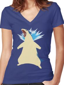 Blue Flame Typhlosion Women's Fitted V-Neck T-Shirt