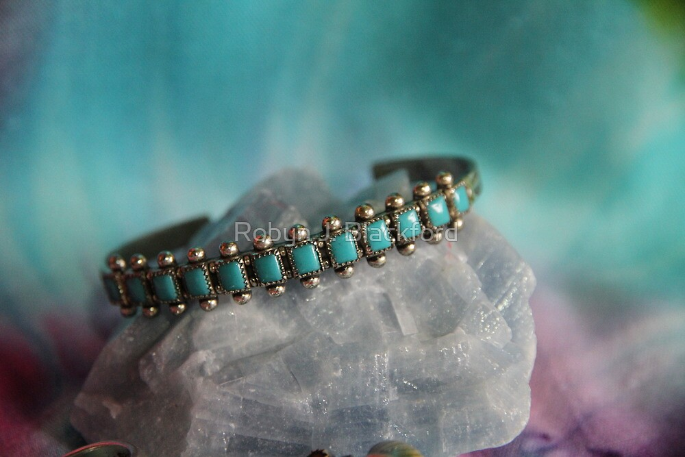 Crystals: Turquoise on Calcite by aussiebushstick