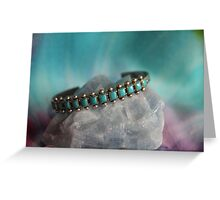 Crystals: Turquoise on Calcite Greeting Card