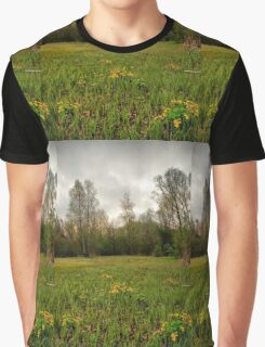 Birches,reeds and kingcups HDR Graphic T-Shirt