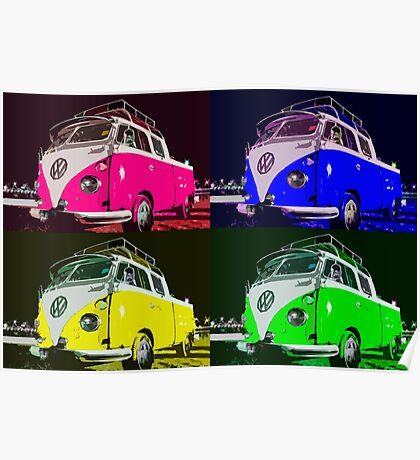 Volkswagen Camper Multi colors illustration Poster