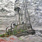 A digital painting of A Steam Tugboat in the Open Sea by Dennis Melling