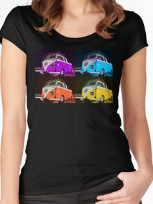 Volkswagen Camper Multi colors illustration 2 Women's Fitted Scoop T-Shirt