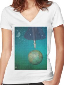 Dancing universe Women's Fitted V-Neck T-Shirt