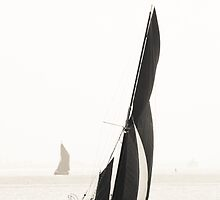 Thames Barge in Black and White by Kelly Eaton