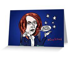 Former Australian PM Julia Gillard editorial cartoon Greeting Card