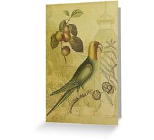 Parrot with Plums Greeting Card