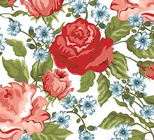 Roses, Flowers, Petals, Leaves - Red Green Blue by sitnica