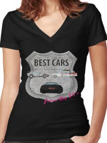 Best cars form the 80's Women's Fitted V-Neck T-Shirt