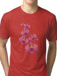 Pink orchids T-shirt vector design Tri-blend T-Shirt