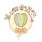 cute baby shower card with animals and toys by Balasoiu Claudia