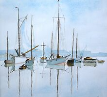 Early Morning Newhaven, (after Roland Hilder)  by John Rees by HurstPainters