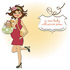 new baby announcement card with pregnant woman by Balasoiu Claudia