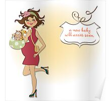 new baby announcement card with pregnant woman Poster