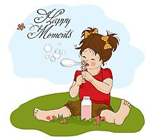 funny lovely little girl blowing soap bubbles Photographic Print