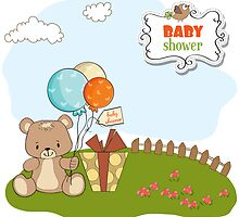 baby shower card with cute teddy bear by Balasoiu Claudia