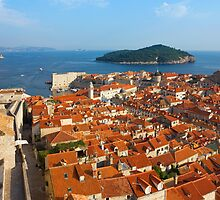Dubrovnik Sunny Afternoon Panoramic View with The Harbor and old by kirilart