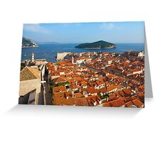 Dubrovnik Sunny Afternoon Panoramic View with The Harbor and old Greeting Card