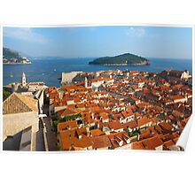 Dubrovnik Sunny Afternoon Panoramic View with The Harbor and old Poster