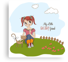 little girl and her cat are best friends Canvas Print