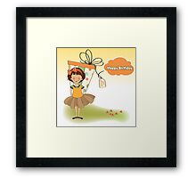 pretty young girl she hide a big gift Framed Print