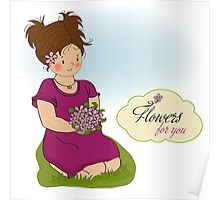 young girl with a bouquet of flowers Poster