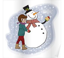 Cute little girl with snowman. Vector illustration Poster