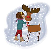 Christmas card with cute little girl caress a reindeer. Vector illustration Photographic Print