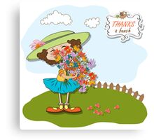funny girl with a bunch of flowers Canvas Print