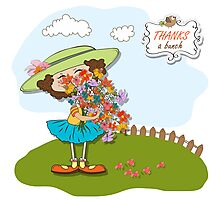 funny girl with a bunch of flowers Photographic Print