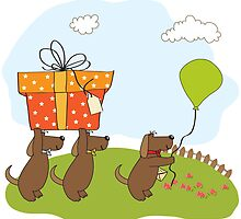 three dogs that offer a big gift. birthday greeting card by Balasoiu Claudia