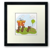 three dogs that offer a big gift. birthday greeting card Framed Print