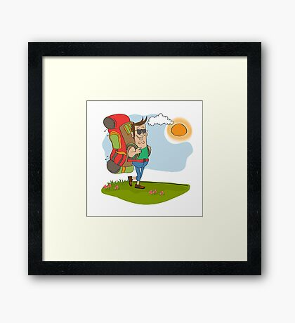 tourist man traveling with backpack Framed Print