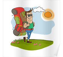 tourist man traveling with backpack Poster
