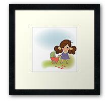 Young lady and pram Framed Print
