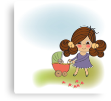Young lady and pram Canvas Print