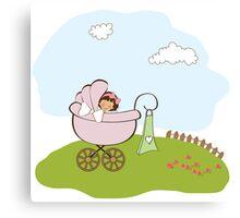baby girl announcement card Canvas Print