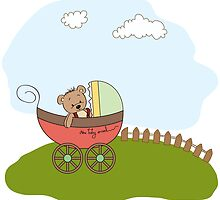 funny teddy bear in stroller, baby announcement card by Balasoiu Claudia