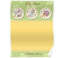 cute baby girl shower card Poster