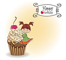 birthday card with funny girl perched on cupcake Photographic Print
