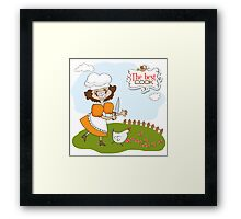the best cook certificate with funny cook who runs a chicken Framed Print