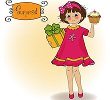 birthday greeting card with girl and big cupcake by Balasoiu Claudia