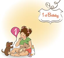 little girl at her first birthday by Balasoiu Claudia