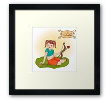 young pretty girl with cupid bow. valentine's day card Framed Print